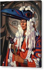 A Bellacoola Woman Wears A Raven Acrylic Print by W. Langdon Kihn