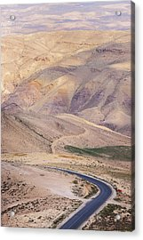 A Bend In A Desert Road Near Mount Nebo Acrylic Print by Martin Child