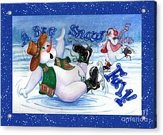 A Big Snowfall-blue Border Acrylic Print