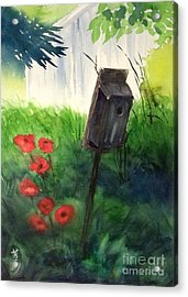 Acrylic Print featuring the painting A Bird House In The Geddes Farm --ann Arbor Michigan by Yoshiko Mishina