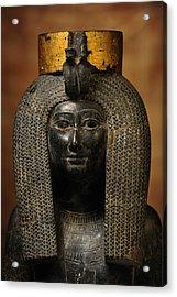 A Black Grantie Statue Of Isis Acrylic Print by Kenneth Garrett