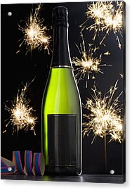 A Bottle Of Champagne And Sparklers Acrylic Print