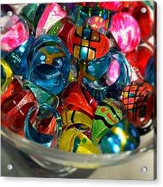 A Bowl Of Handblown Glass Rings #cute Acrylic Print