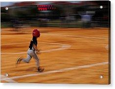 A Boy Runs During A Baseball Game Acrylic Print by Raul Touzon