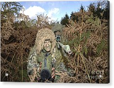 A British Army Sniper Team Dressed Acrylic Print by Andrew Chittock