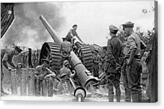A British Heavy Gun In Action, British Acrylic Print by Everett