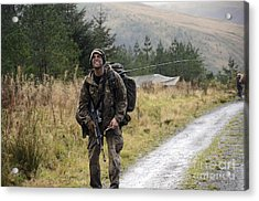 A British Soldier With Radio Acrylic Print by Andrew Chittock
