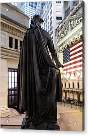 A Bronze Statue Of George Washington Acrylic Print by Justin Guariglia