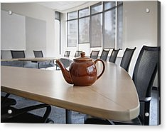 A Brown China Teapot On Boardroom Table Acrylic Print by Marlene Ford