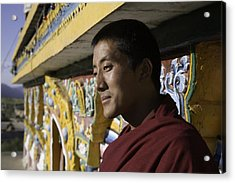 A Buddhist Monk Near The Edge Acrylic Print by David Evans