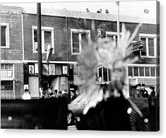 A Bullet Hole In A Storefront Window Acrylic Print