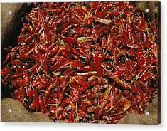 A Burlap Bag Full Of Red Hot Peppers Acrylic Print by James P. Blair