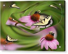A Busy Garden Acrylic Print
