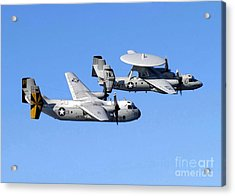 A C-2a Greyhound And A E-2c Hawkeye Acrylic Print by Stocktrek Images