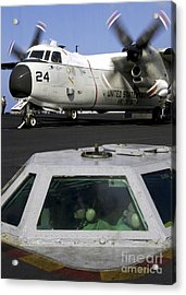 A C-2a Greyhound Prepares For Launch Acrylic Print by Stocktrek Images