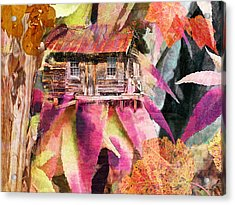 A Cabin In The Woods - A Novel Acrylic Print by Larry Bishop