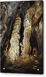 A Caver Is Dwarfed By Giant Calcite Acrylic Print by Michael Nichols