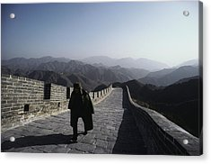 A Chinese Soldier Patrols The Great Acrylic Print by James P. Blair