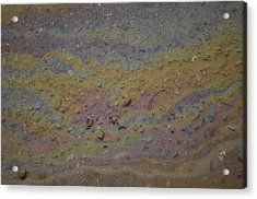 A Close-up Of A Parking Lot Oil Slick Acrylic Print