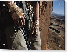 A Close View Of Rock Climber Becky Acrylic Print