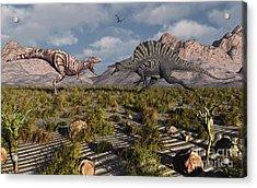 A Confrontation Between A T. Rex Acrylic Print by Mark Stevenson