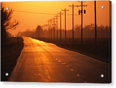 A Country Highway Fades Into The Sunset Acrylic Print by Joel Sartore
