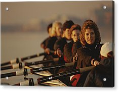 A Crew Team Paddles In Unison Acrylic Print by Sam Kittner