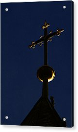 A Cross On St Vitus Cathedral Prague Acrylic Print by Christine Till