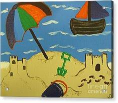 A Day At The Beach Acrylic Print by Eva  Dunham