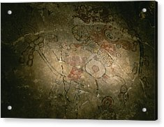 A Detail Of A Mayan Mural Featuring Acrylic Print by Kenneth Garrett