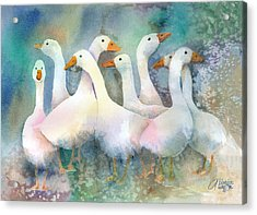 A Disorderly Group Of Geese Acrylic Print by Arline Wagner