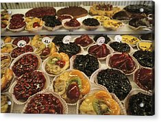 A Display Case Full Of Fruit Pastries Acrylic Print by Gordon Wiltsie