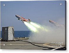 A Drone Is Launched From The Amphibious Acrylic Print by Stocktrek Images