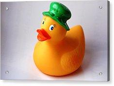 A Duck With Green Hat Acrylic Print by Juan  Cruz
