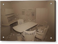 A Dust Covered Office In Building Acrylic Print by Everett