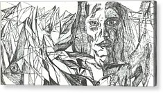 A Face - Sketch Acrylic Print by Robert Meszaros and Nick Ellena