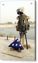 A Fallen Soldiers Gear Display Acrylic Print by Stocktrek Images