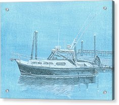 A Fortier Docked In Maine Acrylic Print by Dominic White