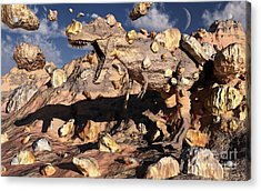 A Fossilized T. Rex Bursts To Life Acrylic Print by Mark Stevenson
