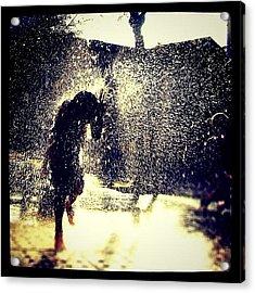 A #fountain Of Fun. #drops Of #water Acrylic Print