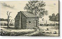 A Frontier Presbyterian Church. The Log Acrylic Print by Everett