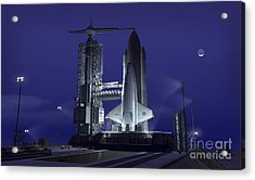 A Futuristic Space Shuttle Awaits Acrylic Print by Walter Myers