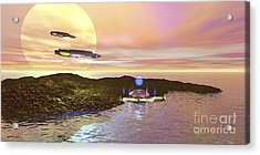 A Futuristic World On Another Planet Acrylic Print by Corey Ford