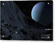 A Gigantic Scarp On The Surface Acrylic Print by Ron Miller