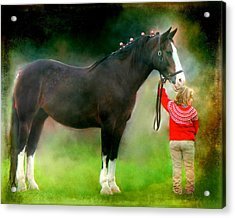 A Girl And Her Horse Acrylic Print by Davandra Cribbie