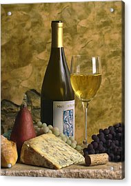 A Glass Of Chardonay Acrylic Print by Mel Felix