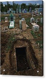 A Graveyard Has Handpainted Stones Acrylic Print by Stephen Alvarez