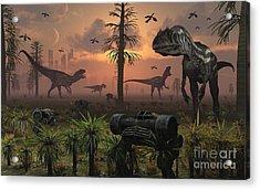 A Herd Of Allosaurus Dinosaur Cause Acrylic Print by Mark Stevenson