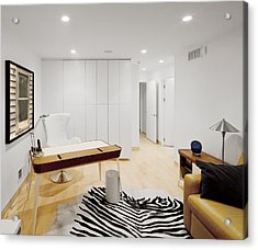 A Home Office. A Black And White Zebra Acrylic Print by Christian Scully