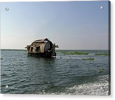 A Houseboat Moving Placidly Through A Coastal Lagoon In Alleppey Acrylic Print by Ashish Agarwal